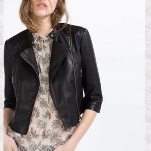 ZARA TRF Black Leather Moto Jacket 3/4 Sleeve M